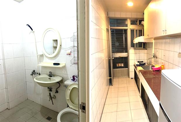 左:トイレ、シャワー  右:キッチン
